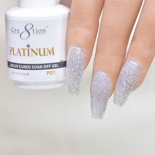 Cre8tion Platinum Gel Polish, P01, 0916-0486, 0.5oz KK0912