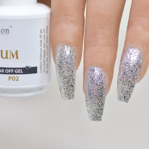 Cre8tion Platinum Gel Polish, P02, 0916-0487, 0.5oz KK0912