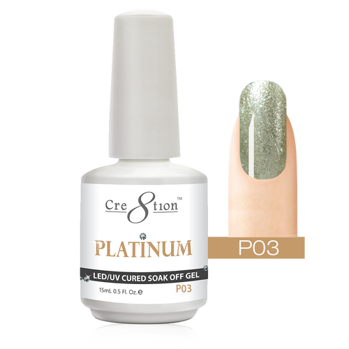 Cre8tion Platinum Gel Polish, P03, 0916-0488, 0.5oz KK0912