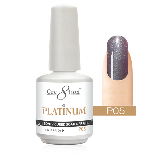 Cre8tion Platinum Gel Polish, P05, 0916-0490, 0.5oz KK0912