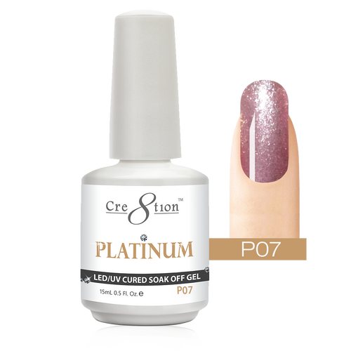Cre8tion Platinum Gel Polish, P07, 0916-0492, 0.5oz KK0912