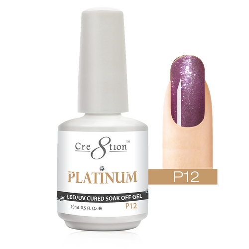 Cre8tion Platinum Gel Polish, P12, 0916-0497, 0.5oz KK0912