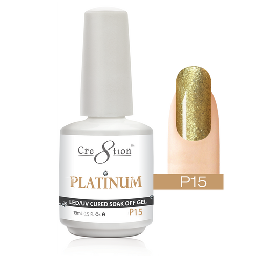 Cre8tion Platinum Gel Polish, P15, 0916-0537, 0.5oz KK0912