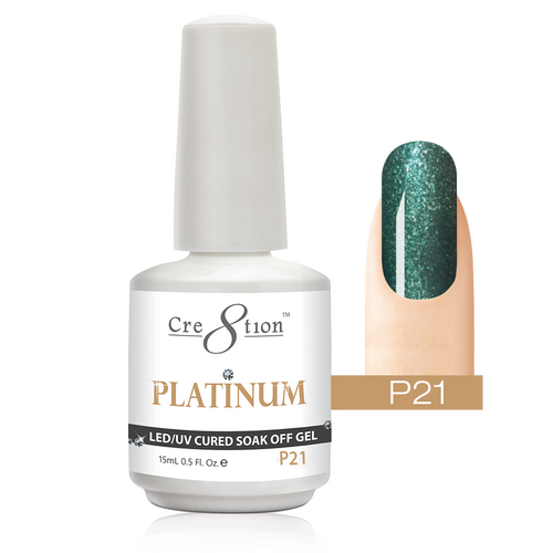 Cre8tion Platinum Gel Polish, P21, 0916-0543, 0.5oz KK0912
