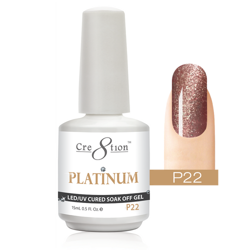 Cre8tion Platinum Gel Polish, P22, 0916-0544, 0.5oz KK0912