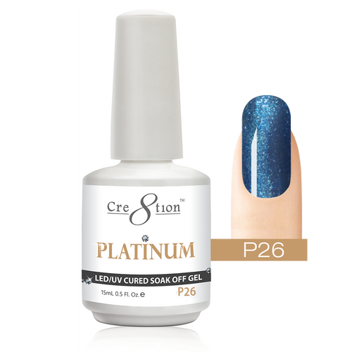 Cre8tion Platinum Gel Polish, P26, 0916-0548, 0.5oz KK0912