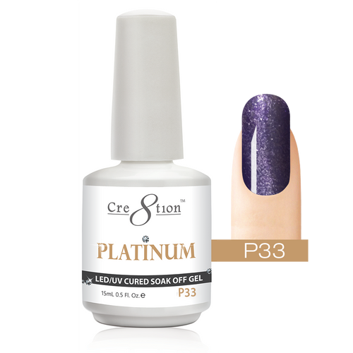 Cre8tion Platinum Gel Polish, P33, 0916-0555, 0.5oz KK0912