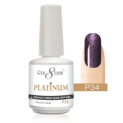 Cre8tion Platinum Gel Polish, P34, 0916-0556, 0.5oz KK0912