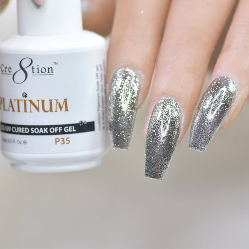 Cre8tion Platinum Gel Polish, P35, 0916-0557, 0.5oz KK0912