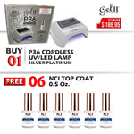 Gel II UV/LED CORDLESS Rechargable Lamp, Silver Platinum, P36, Buy 1 Get 6 pcs NCI Top Coat 0.5oz FREE