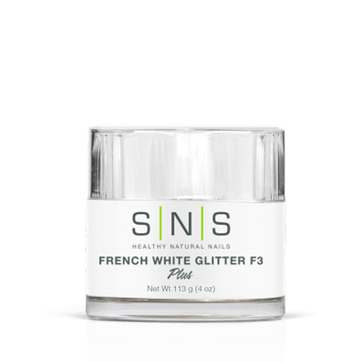 SNS Dipping Powder, 03, FRENCH WHITE GLITTER F3, 4oz (Packing: 40 pcs/case)