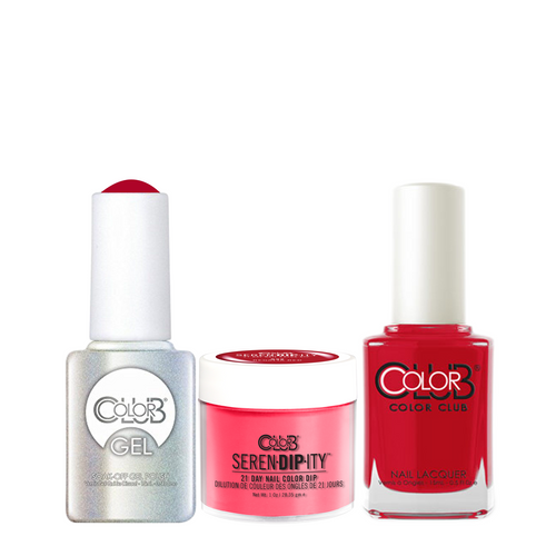 Color Club 3in1 Dipping Powder + Gel Polish + Nail Lacquer ,  Serendipity, Regatta Red, 1oz, 05XDIP832-1 KK