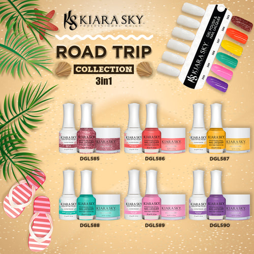 Kiara Sky 3in1 Dipping Powder + Gel Polish + Nail Lacquer, Road Trip Collection, Full line of 6 colors (from DGL585 to DGL590)