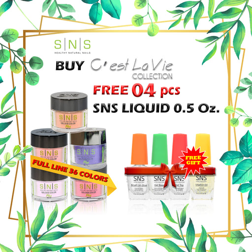 SNS Gelous Dipping Powder, C'est La Vie Collection, Full Line Of 36 Color (from LV01 to LV36), Buy 1 Get 4 pcs SNS Liquid 0.5oz FREE
