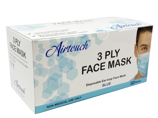 Airtouch Disposable 3 Ply Face Mask, Blue, BOX, 10198 (Packing: 50 pcs/case, 40 boxes/case)