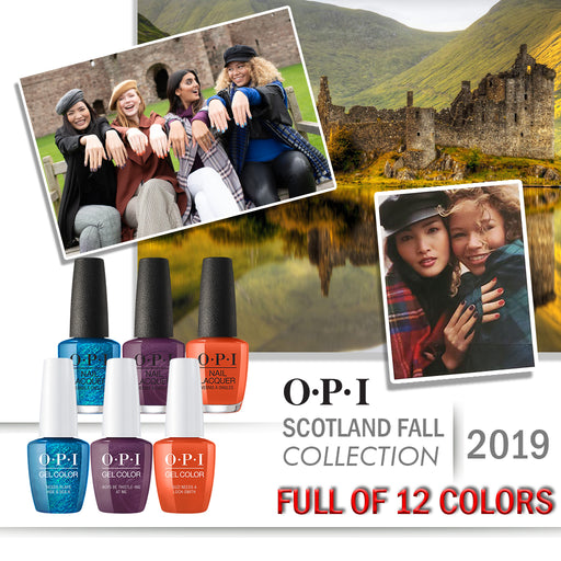 OPI GelColor And Nail Lacquer, Scotland Fall 2019 Collection, Full Line Of 12 Colors (From U12 To U23), 0.5oz OK0613VD