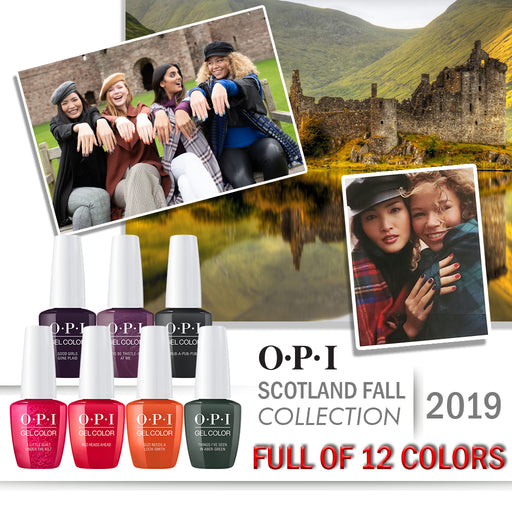 OPI Gelcolor, Scotland Fall 2019 Collection, Full Line Of 12 Colors (From U12 To U23), 0.5oz OK0613VD