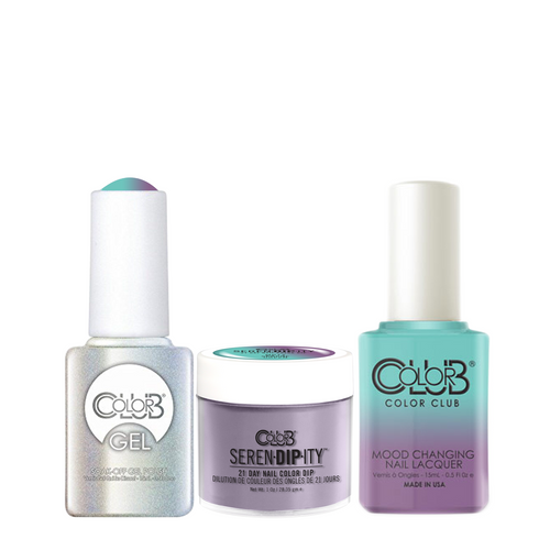 Color Club 3in1 Dipping Powder + Gel Polish + Nail Lacquer , Serendipity, Serene Green (Mood-Color Changing), 1oz, 05XDIPMP17-1 KK