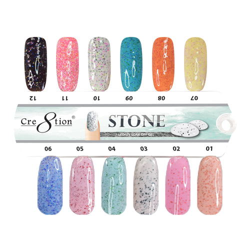Cre8tion Stone Gel Polish, 0.5oz, Full Line of 12 colors (from ST01 to ST12, Price: $7.46/pc)