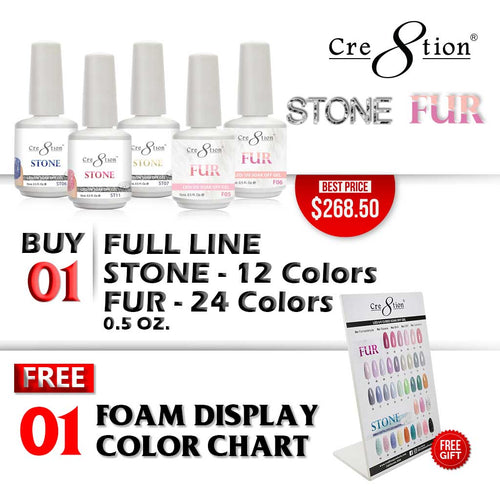 Cre8tion Fur Gel & Stone Gel, Full Line of 36 Colors (from FUR01 to FUR24 & ST01 to ST12, Price: $7.46/pc), Buy 1 Get 1 Counter Foam Display FREE