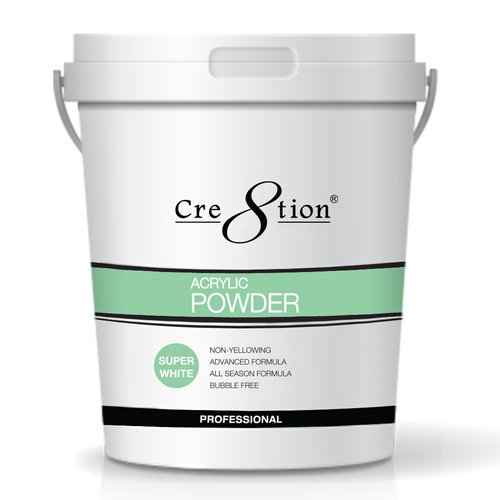 Cre8tion Acrylic Powder, Super White, 25 lbs, 01443