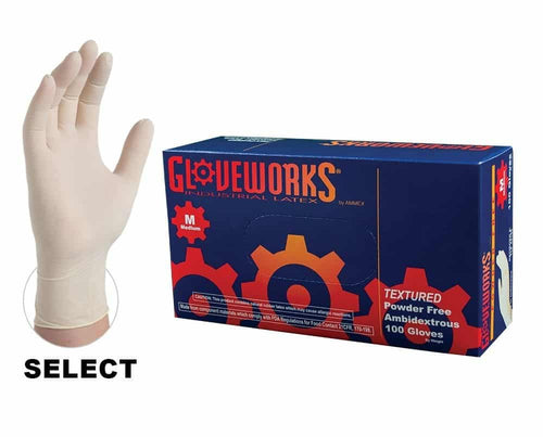 Gloveworks Latex Gloves, Powder-Free, TLF44100, size M KK