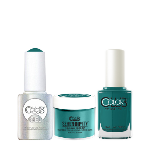 Color Club 3in1 Dipping Powder + Gel Polish + Nail Lacquer , Serendipity, Teal for Two, 1oz, 05XDIP1109-1 KK