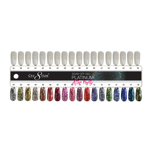 Cre8tion Platinum After Party Gel Polish, Full Line Of 18 Colors (from 01 to 18), 0.5oz