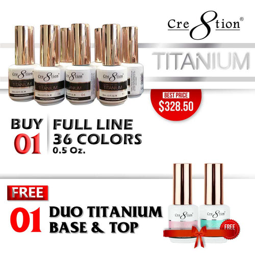 Cre8tion Titanium Gel Polish, Full line of 36 colors (from T01 to T36, Price: $9.13), Buy 1 Get 1 Cre8tion Titanium Gel Base and 1 Cre8tion Titanium Gel Top FREE