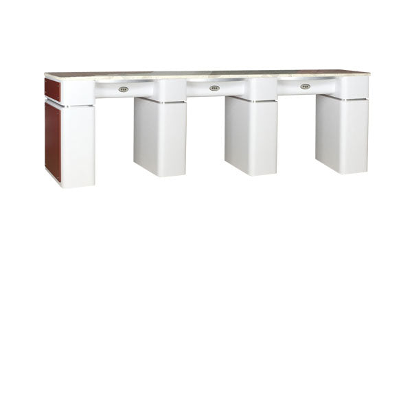 SPA Triple Nail Table, White/Burgundy, WBUT-39 (NOT Included ...