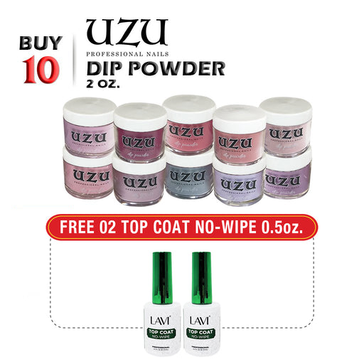 Uzu Dipping Powder (Matching OPI), 2oz, Buy 10 Get 2 pcs NCI Dipping Gel, 0.5oz FREE