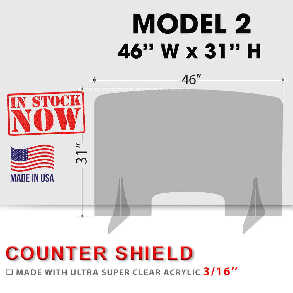 Counter Shield 46''W x 31''H, MODEL 2, Thickness 3/16'' OK0527VD