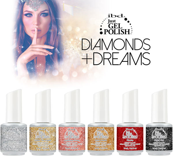 IBD Just Gel Polish, Diamonds Dreams Collection, 0.5oz Fulline of 6 colors (67575 - 67580)