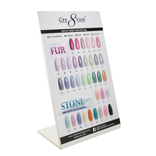 Cre8tion Fur Gel + Stone Gel, Counter Foam Display Color Chart, 37076