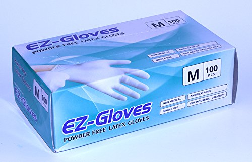 EZ-Gloves, Powder-Free Latex Gloves, Size M
