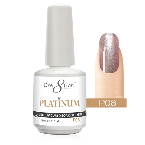 Cre8tion Platinum Gel Polish, P08, 0916-0493, 0.5oz KK0912