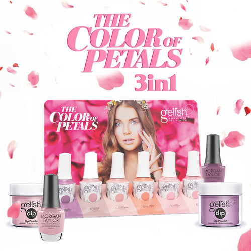 Gelish 3in1 Dipping Powder + Gel Polish + Nail Lacquer, The Color Of Petals Collection, Full line of 6 colors (from 340 to 345) OK0115LK