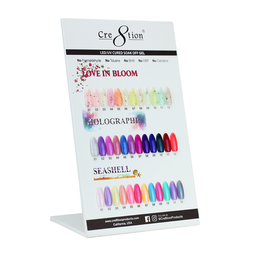 Cre8tion Love In Love Gel + Holographic Gel + Seashell Gel, Counter Foam Display Color Chart, 37048