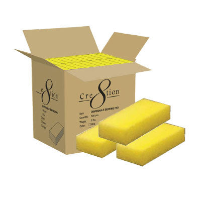 Cre8tion Disposable Short Pumice Sponge, YELLOW, INNER CASE(Packing: 100 pcs/box, 8 boxes/case)