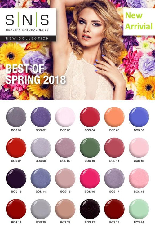 SNS Gelous Dipping Powder, Best Of Spring 2018 Collection,  Full Collection Of 24 Colors (from BOS01 to BOS24)