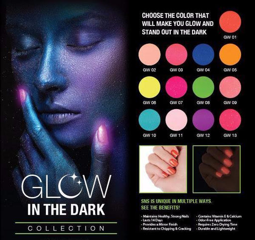SNS Gelous Dipping Powder, Glow In The Dark Collection, 1oz  Full Line of 13 Colors (GW01 - GW13)