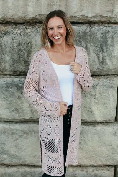 Mauve Long Open Cardigan