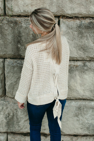 Back Tied Drop Shoulder Waffle Sweater