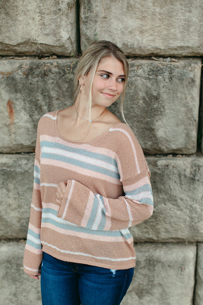 Light Weight Striped Pullover Sweater