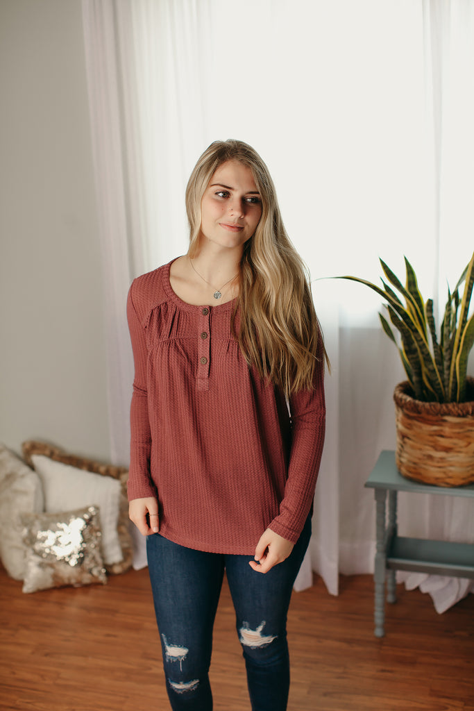 Waffle Knit Top with Buttons