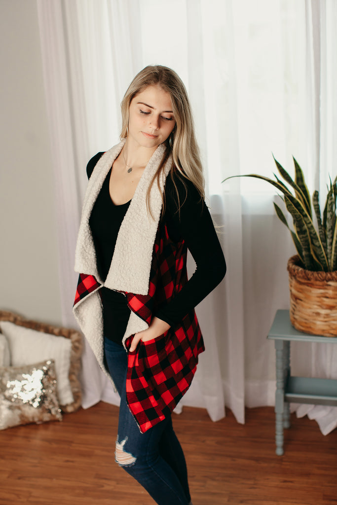 Red/Black Plaid Vest