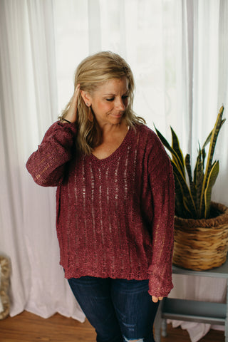 V-Neck Purple Sweater