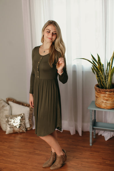 Olive Long Sleeve Midi Dress