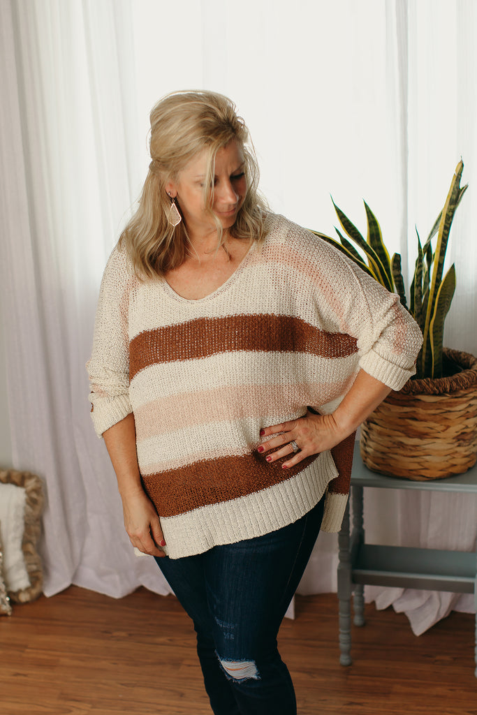 Cream Combo Yarn Sweater