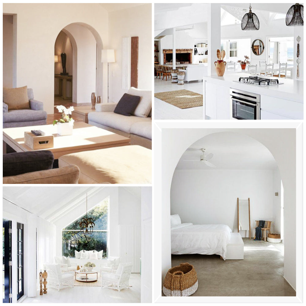White Interior  A dominant white palette is most common for this dreamy aesthetic. The key is to keep the interior as simple as possible in white/neutral shades and to inject character & personality by using natural, textural & eclectic accessories and decors.  Predominantly all-white spaces paired with white, natural wood, or microcement floors create a simple, clean & airy backdrop that allows you to create a visually striking space by giving much needed attention to the architecture and furnishing.  Our new obsession, plastered walls, are also another way of introducing character and texture to your home. Made from natural binders like clay and lime, natural plasters are less processed and less synthetic than conventional wall coverings and are simply beautiful.  The other striking element in Mediterranean architecture is to introduce curve corners as oppose to traditionally straight wall lines. Archways are becoming a huge interior trend and one that is simple & effective at bringing a touch of uniqueness into your home, something to consider during home renovations. Arched shower doors, arched entry ways, and arched built-in-shelves are all striking focal points in any space.